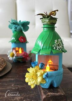 Turn empty plastic wa ter bottles into adorable little fairy houses that double as night lights! Fun for a child's room or a nursery, or even the garden.