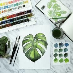 Monstera leaf watercolor art print. #watercolorarts