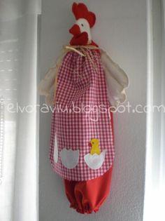 gallina guarda-bolsas  telas algodón costura