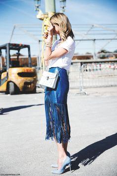 Fringed leather skirt