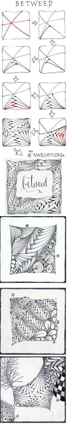 Zentangle Pattern to Practice (op) Betweed. Official Zentangle with variations. Zentangle Drawings, Doodles Zentangles, Zentangle Patterns, Doodle Drawings, Doodle Art, Zen Doodle Patterns, Doodle Borders, Tangle Doodle, Tangle Art