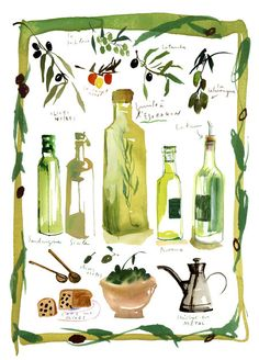 Food illustration Olives and olive oil poster by lucileskitchen, $38.00