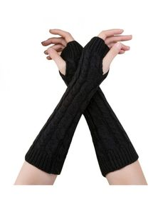 Shop for Woman Thumbhole Arm Warmers-Girl Winter Knitted Long Fingerless Gloves - Black - Discover the newest styles Women's Cold Weather Gloves up to off. Women's Gloves, Mitten Gloves, Fingerless Gloves, Mittens, Striped Gloves, Black Gloves, Cold Weather Gloves, Arm Warmers, Women's Accessories