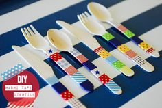 Washi Tape Cutlery  1)For trendy looking cutlery use theis quick,cheap and effective idea.
