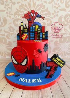 Twin Birthday Parties, Birthday Party Decorations, Boy Birthday, Fruit Cake Watermelon, Spiderman Birthday Cake, Pirate Ship Cakes, Spider Cake, Cake Drawing, Creative Cake Decorating