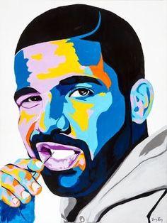 Pop Art Drawing, Painting & Drawing, Art Drawings, Drake Drawing, Arte Do Hip Hop, Hip Hop Art, Pop Art Portraits, Portrait Art, Portrait Paintings
