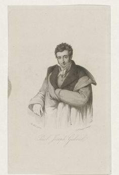Johannes Philippus Lange | Portret van Paulus Joseph Gabriël, Johannes Philippus Lange, 1820 - 1849 | Portret ten halven lijve van voren van schilder en beeldhouwer Paulus Joseph Gabriël, de linkerhand in zijn binnenzak gestoken.