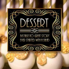 Gatsby Dessert Sign, 8 x 11 x 16 x size, Gatsby Party, Art Deco Party Supplies - Black and Gold Cards, Art Deco Party, Download Digital, Gatsby Party, Coffee Bottle, Party Supplies, Signs, Desserts, Gold, Cards
