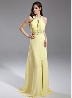 Prom Dresses - $155.99 - A-Line/Princess Scoop Neck Sweep Train Chiffon Prom Dress With Ruffle Beading Sequins Split Front  http://www.dressfirst.com/A-Line-Princess-Scoop-Neck-Sweep-Train-Chiffon-Prom-Dress-With-Ruffle-Beading-Sequins-Split-Front-020015594-g15594
