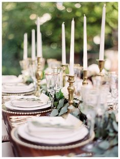 Gold candlesticks, gold table settings - Rachel Solomon Photography Blog | Eucalyptus and Gold Wedding Inspiration | http://blog.rachel-solomon.com