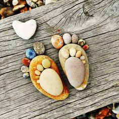 Mummy and baby feet pebble art