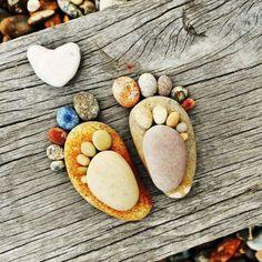 Mummy and baby feet pebble art