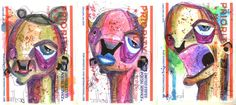 3 graffiti stickers anthead hand made lowbrow outsider street art urban pop folk #OutsiderArt