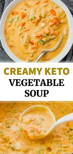 This is an easy and simple recipe for homemade Creamy Vegetable Soup: a low carb and keto friendly dish. Meatless with vegetables like carrots onions and celery this healthy soup is easily adapted for vegetarians. Creamy Soup Recipes, Fall Soup Recipes, Keto Crockpot Recipes, Chicken Soup Recipes, Low Carb Vegetarian Recipes, Meatless Soup Recipe, Simple Soup Recipes, Low Carb Soups, Healthy Soup Vegetarian