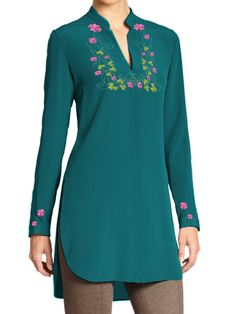 Ladies Tunic with Multicolor Floral Embroidery on Shoulders and Cuffs (Customizable) - Medium / Blue Chemises Country, Outfits Plus Size, Moda Formal, Casual Dresses, Casual Outfits, Indian Tunic, Plus Clothing, Silk Tunic, Blouse Styles