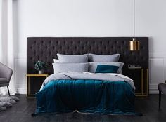 Now available at Adairs are these fantastic wide bedheads. Larger than even a king size, they allow you to fit a bedside table in front of the bedhead on both sides, bringing a seriously luxurious feel to the bedroom. The beautiful touch of blue velvet on the bed is the Bombay Quilted Velvet Throw and matching cushion in the teal colour. #furniture #beadhead #widebedhead #bedroom #bedroomstyle #bedroomluxury #velvet #bedroominspo #homeinspiration #homestyling #homedecor #homewares #adairs