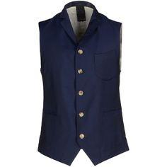 (+) People Vest ($165) ❤ liked on Polyvore featuring men's fashion, men's clothing, men's outerwear, men's vests, dark blue, mens wool vest, mens vest, mens sleeveless vest and mens vest outerwear