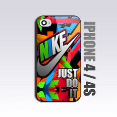 Nike Just Do It Full Color  - For iPhone 4 or 4S Black Case / Cover   mobilefun - Accessories on ArtFire
