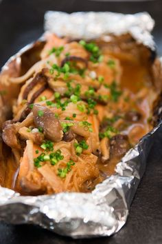 Foil Wrapped Miso Salmon with Mushrooms