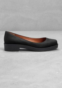 Black leather flats - & Other Stories