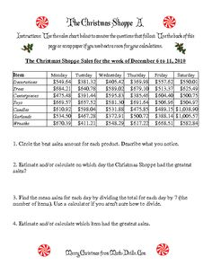 Christmas Math Worksheet -- The Christmas Shoppe (Numbers under $1000) (A)
