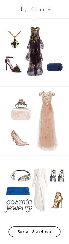 """High Couture"" by crii-1 on Polyvore featuring moda, Jimmy Choo, Marchesa, Chanel, RALPH & RUSSO, Alexander McQueen, Galvan, AZZA FAHMY, Giuseppe Zanotti y Anne Sisteron"