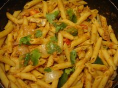 Penne Rigate with Tuna, Mushrooms, Green Peppers, Onion and a touch of Peppersauce