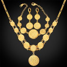 15e9bdf5021c Coin Necklace Bracelet Earrings Women Muslim Arab Money Sign 18K Gold Plated  Middle Eastern   African