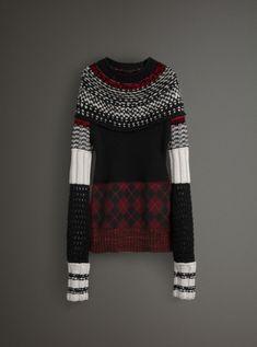 Hand-knitted Yoke Cashmere Wool Sweater