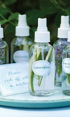 Refresh with All-Natural DIY Mists A refreshing spritz of fragrant water is a great way to keep cool in summer. To create sprays, simply fill mist bottles with water and a few strips of julienned cucumber or sprigs of lavender and mint. Beach Wedding Decorations, Beach Wedding Favors, Wedding Ideas, Diy Wedding, Wedding Gifts, Perfect Wedding, Wedding Ceremony, Wedding Venues, Reception