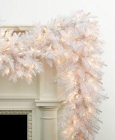 Kurt Adler Christmas Decoration, 9' Pre-Lit Crystal White Garland