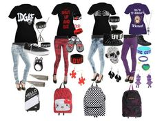 outfits for school the only shirt i like is the purple one Grunge Outfits, Cute Emo Outfits, Scene Outfits, Cute Outfits For School, Punk Outfits, Girl Outfits, Fashion Outfits, Skater Outfits, Concert Outfits