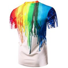 Casual Pullover Colorful Painting T-Shirt For Men - XL XL