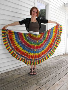 Vintage 50s Mexican Skirt Kent Wrap Hand Painted S Rainbow Folk Full