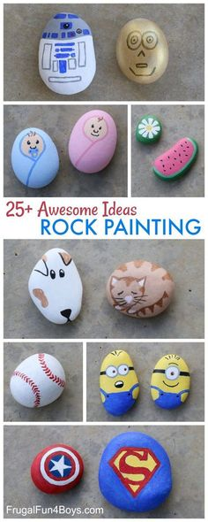 Awesome Rock Painting Ideas - Rock crafts for kids, design inspiration art projects for adults Awesome Rock Painting Ideas - Frugal Fun For Boys and Girls Kids Crafts, Summer Crafts, Craft Projects, Summer Art, Art Projects For Adults, Toddler Art Projects, Summer Kids, Project Ideas, Craft Ideas