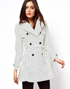 Spot Skater Mac Coat by ASOS Collection | white coat with black polka dots