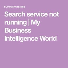Search service not running | My Business Intelligence World
