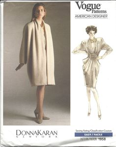 1980s Donna Karan dress and coat pattern - Vogue 1958