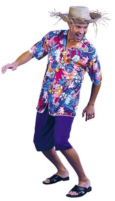 In a tropical and beautiful setting you need the perfect outfit to go along with it, and we've got the perfect shirt for you. Our Hawaiian Shirt features a blue shirt with bright Hawaiian prints. Hawaiian Party Outfit, Hawaiian Outfits, Adult Luau Party, Cher Costume, Funny Fancy Dress, Guy, Fancy Dress Accessories, Aloha Shirt, Outfits