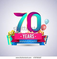 70 Years Anniversary celebration logo, with gift box and balloons, red and blue ribbon, Colorful Vector design template elements for your birthday party.