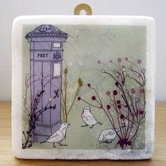 Squabbling Sparrows Decorative Marble Tile - I like all of these designs!
