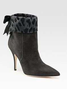 Kate Spade New York - Leigh Suede  Leopard-Print Cuff Ankle Boots