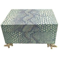 Blue Snakeskin Box (710 SAR) ❤ liked on Polyvore featuring home, home decor, small item storage, boxes, blue home decor, velvet lined box, blue home accessories, blue box and colored boxes