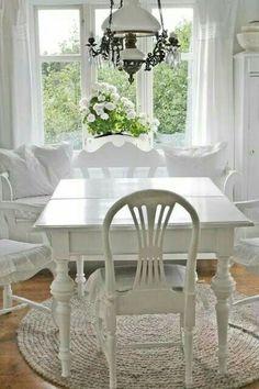 White Cottage, Shabby Cottage, Cottage Living, Cottage Chic, Cottage Style, White Farmhouse, Shabby Chic Dining, Shabby Chic Decor, Vibeke Design