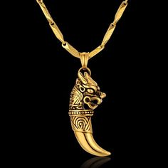A truly exceptional design that features a remarkable tribal-inspired design; from the extraordinarily crafted pendant to the specially designed chain this wolf tooth necklace offers nothing but absolutely untouchable beauty. Mens Gold Bracelets, Mens Gold Jewelry, Clean Gold Jewelry, Silver Jewelry, Ruby Jewelry, Jewellery, Diy Jewelry Rings, Wolf Jewelry, Viking Jewelry