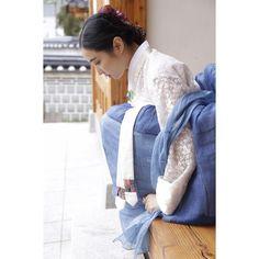 쪽염색 모시 조각치마 레이스 저고리, 모시 숄 #바느질풍경 #hanbok #dress #sewinglandscape #김복희 #한복