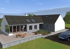 This design has a traditional Irish cottage front with traditional form and vernacular. The rear of the property is where the licence to introduce architectural flair was given, this is evident in … Irish Cottage, Modern Bungalow Exterior, Modern Bungalow House Plans, Bungalow Ideas, Bungalow Designs, Bungalow Floor Plans, Dormer House, Dormer Bungalow, Cottage Extension