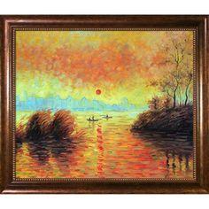 Claude Monet 'Le Coucher Du Soleil La Seine' Hand Painted Framed Art