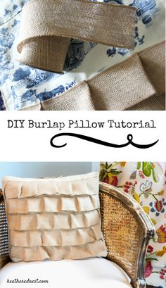 Heathered Nest DIY Easy Ruffle Burlap Pillow Tutorial!