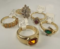 18K Goldplated rings vintage lot of 5 , Size 7, USA made, CZs, marked,(LotM67)NR #AmericanRing #Variety